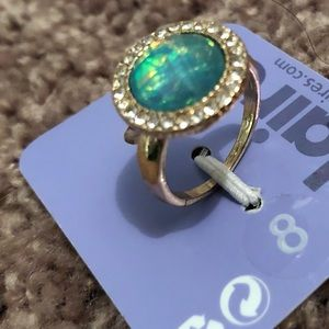 CLAIRE'S Gold & Teal Ring Size 8 NEW!